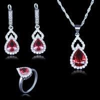 新加入水滴ローズ赤いキュービックジルコニア石ジュエリーセット925スタンプシルバーカラーのネックレス&イヤリング&リングセット用女