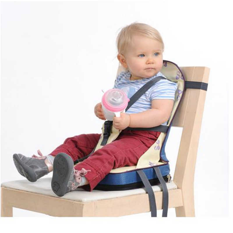Foldable Children Chair Portable Baby Dining Chair Oxford Water Proof Child Safety Seat Chair Fixed Strap Baby Seat 43x25x30cm
