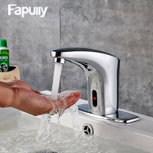 Fapully Bathroom Basin Faucet Touch-less Deck Mounted Automatic Sensor Faucets Mixer Tap