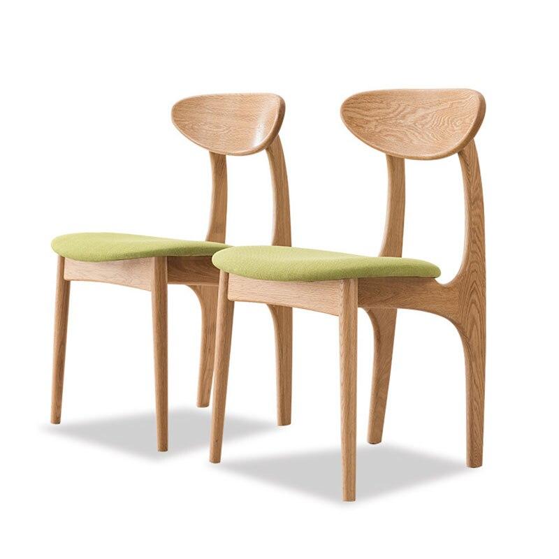 Moderne massief houten eetkamerstoel Eenvoudige tafel eetkamerstoel combinatie wit eiken casual cafe restaurant studie Japanse stoel-in Eetkamer stoelen van Meubilair op title=