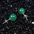 Стерлингового Серебра 925 природных нефрита Серьги Стержня для женщин серьги, ювелирные изделия серьги brinco brincos pendientes orecchini