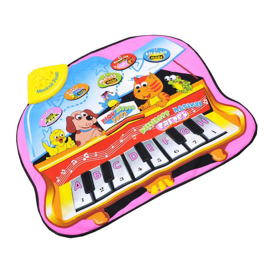 HOT SALE YiQu 1 Rose + Color Nylon Cloth + Printed Circuit + ABS Cartoon Animal Piano Music Carpet Game Carpet 73 * 60cm
