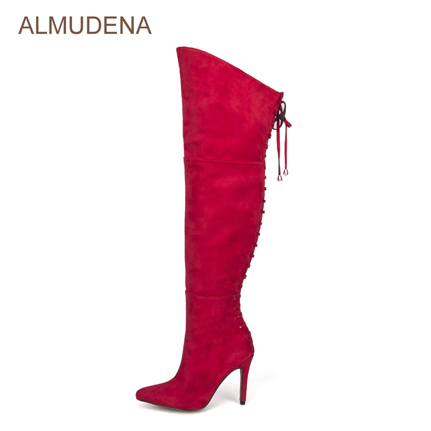 ALMUDENA Women Glamorous Red Suede Over-the-knee Boots Pointed Toe Sexy Party Dress Shoes Back Lace-up Fastening Thigh High Boot top brand unique design black suede boots back front lace up fastening dress boots trendy ladies footwear thin high heel shoes
