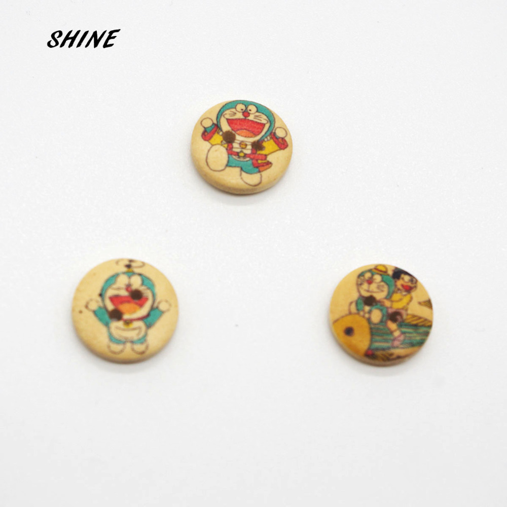 Wood Sewing Buttons Scrapbooking Round Mixed Two Holes Doraemon Pattern 15mm Dia. 24 PCs Costura Botones Decorate bottoni botoes