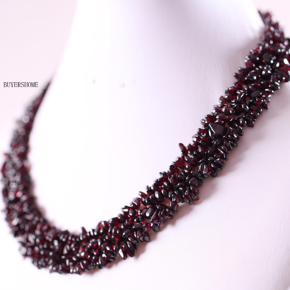 Free Shipping Jewelry 4X8MM Natural Garnet Chip Beads Nylon Line Weave Necklace 18