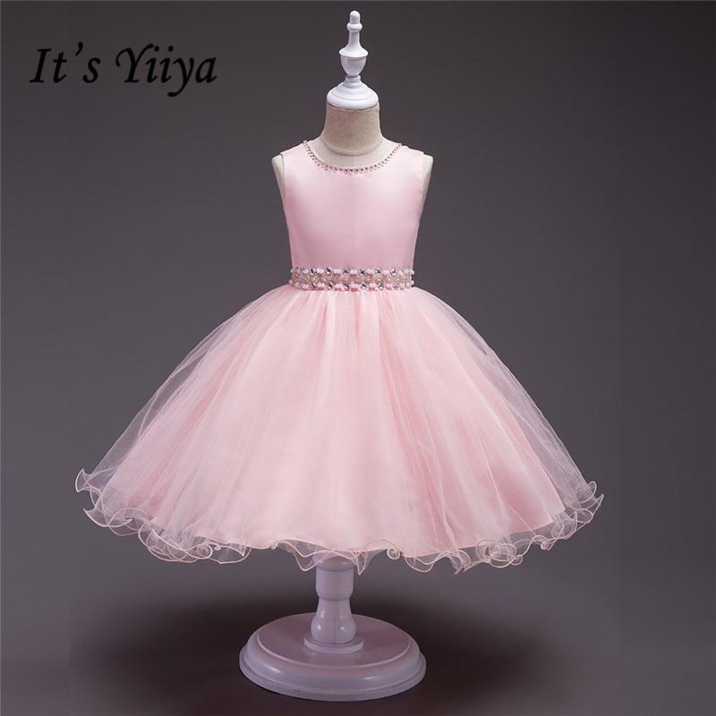 It's yiiya New Suture Beading Belt   Flower     Girl     Dresses   Knee-length Princess Ball Grown Sweet O-neck Sleeveless   Girls     Dress   885