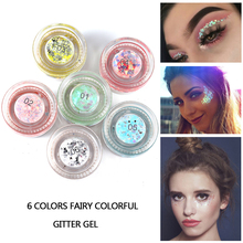 HANDAIYAN New Arrival Glitter Gel 6 Colors Eye Palette Make up Tools Shimmer High Lighter Shadow Cream