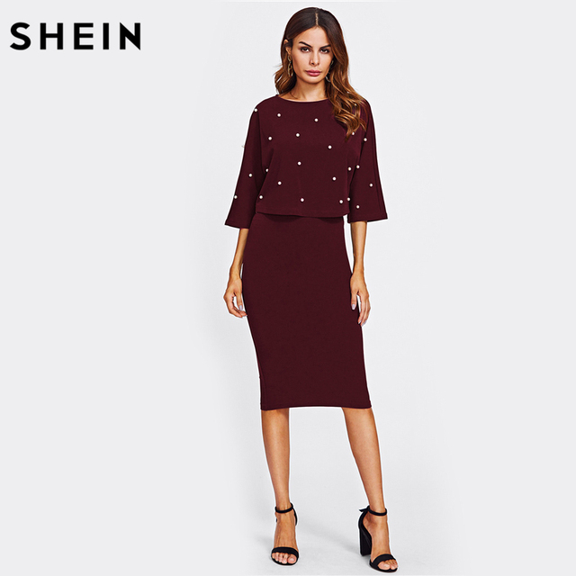 SHEIN Women Autumn Two Piece Outfits Burgundy Three Quarter Length Sleeve Pearl Embellished Front Top and Pencil Skirt Set