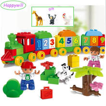 Happywill Gift bag sticker HM136 Big Blocks Number Train Building Set Compatible Educational Toys DIY Baby