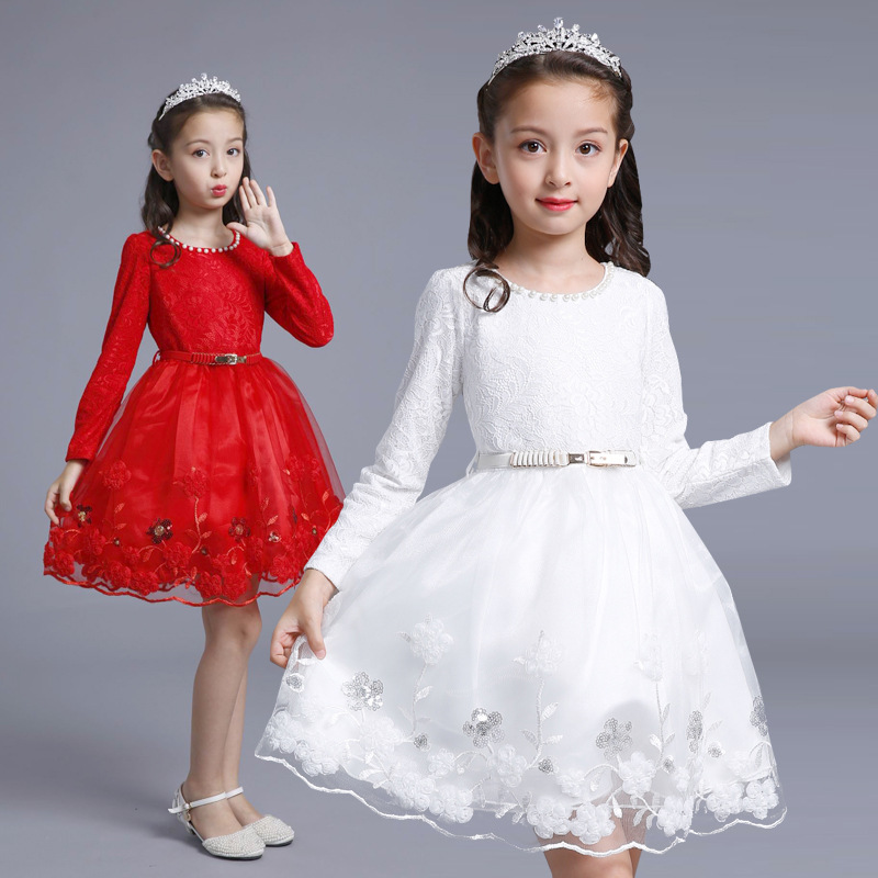 Children'S Clothes For Girls Dress Spring/Autumn Kids Baby Lace Princess Dress In Party Wedding Dress Performance Clothing uoipae party dress girls 2018 autumn