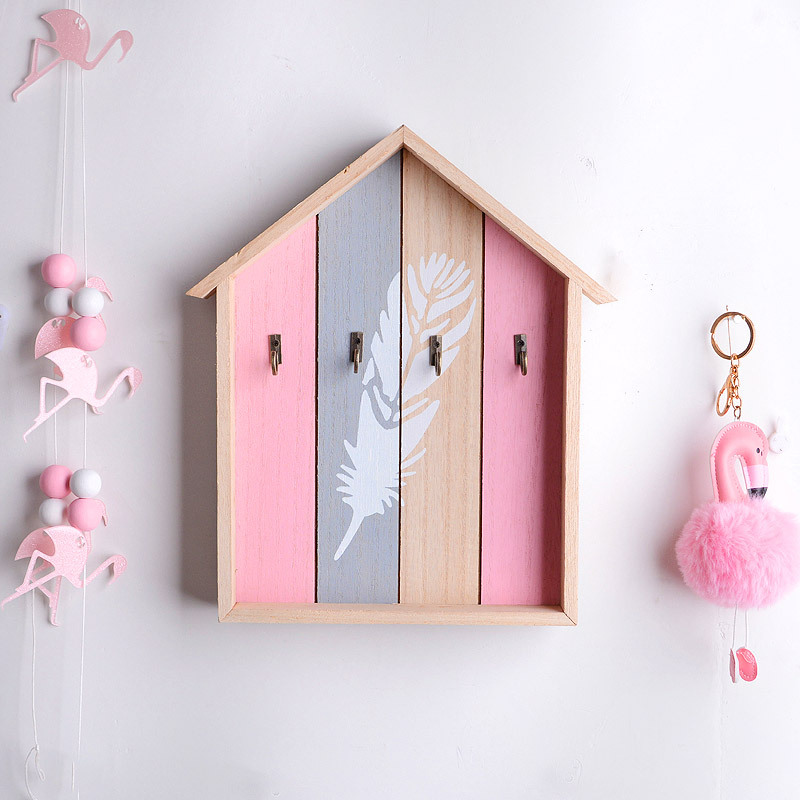 Wooden Storage Hook For Key Hanger Shelf Kitchen Organizer Wall Decor Hanging Hooks Wall-mounted Room Decoration Rack