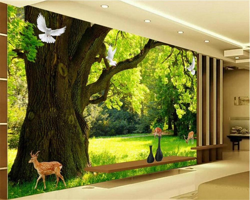 beibehang HD modern minimalist wallpaper forest scenery 3D TV backdrop papel de parede wallpaper for walls 3 d papier peint