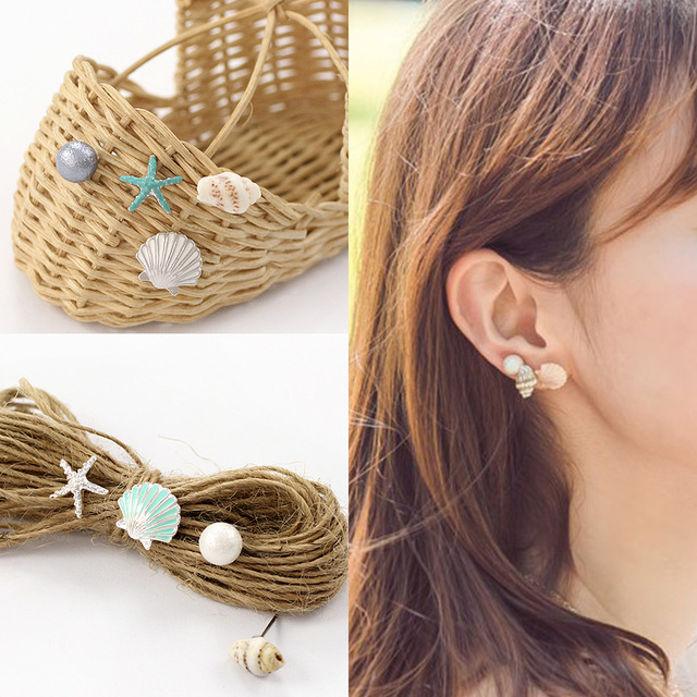 4 pcs/set New Fashion Sea Style Jewelry Shell Pearl Conch Starfish Stud Earrings For Women Jewelry Wholesale 3111
