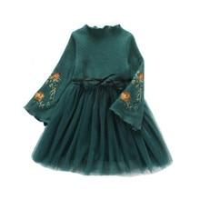 Детские вечерние платья, детская одежда, осенне-зимнее платье для девочек, весеннее платье принцессы с длинными рукавами и вышивкой для маленьких девочек