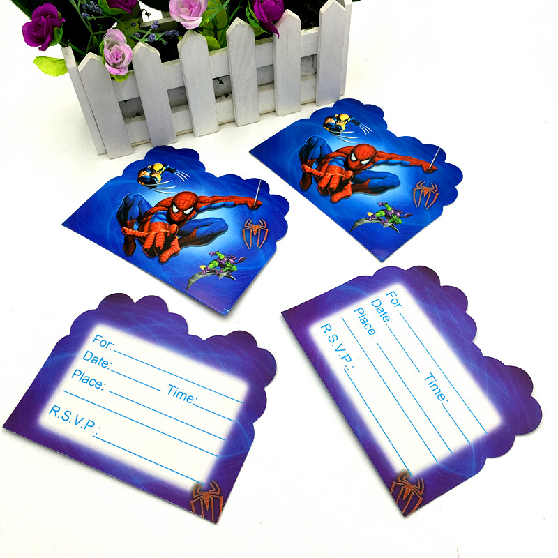 Us 1 61 30 Off 10pcs Lot Spiderman Invitations Kids Birthday Party Favors Spider Man Invitation Cards Happy Birthday Party Supplies In Cards