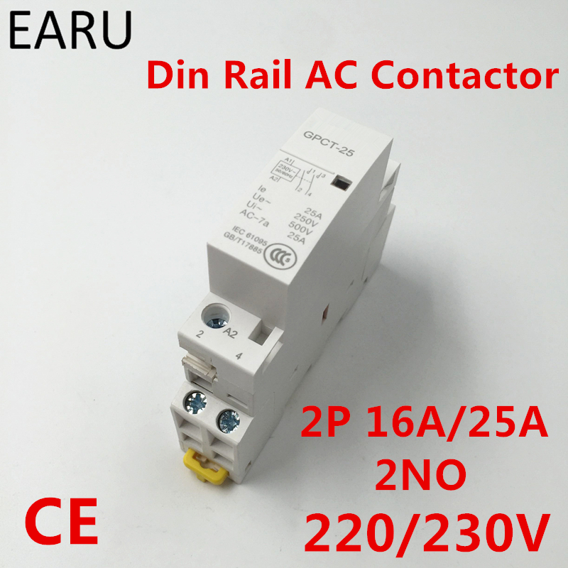 Free Shipping GPCT1 2P 16A <font><b>25A</b></font> <font><b>220V</b></font>/230V 50/60HZ Din Rail Household Ac <font><b>Contactor</b></font> 2NO for Household Home Hotel Resturant image