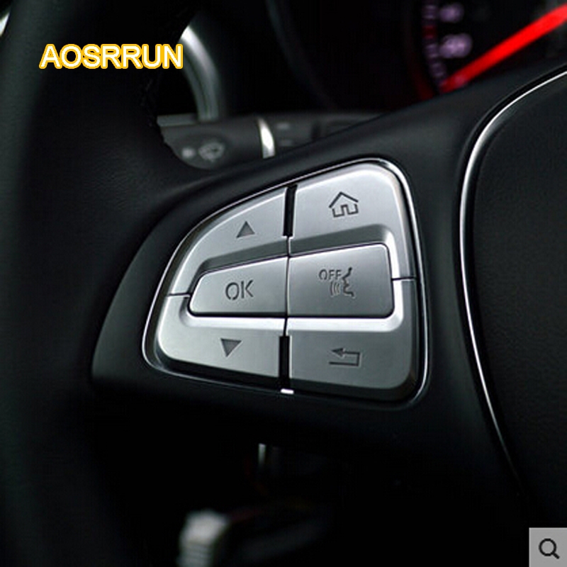 AOSRRUN Car steering wheel button sequins interior refitting cover car accessories FOR Mercedes Benz C-Class W205 W212 S205 runba ice silk steering wheel cover sets with red thread