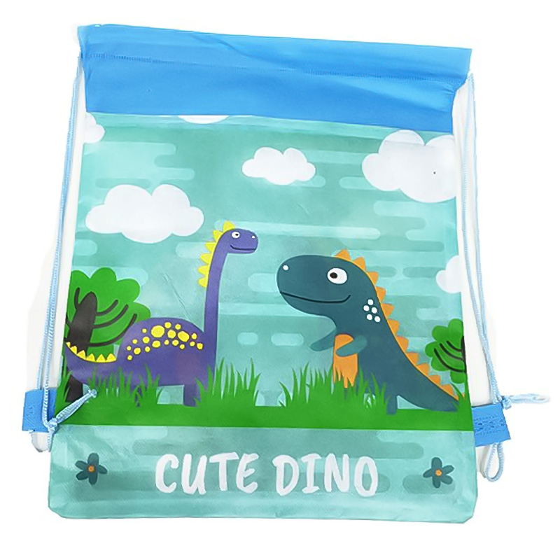 10Pcs Printed Cartoon Dinosaur Backpack Boy Non-woven Fabric Drawstring Bag Dust-proof Environment-friendly Child Storage Bag