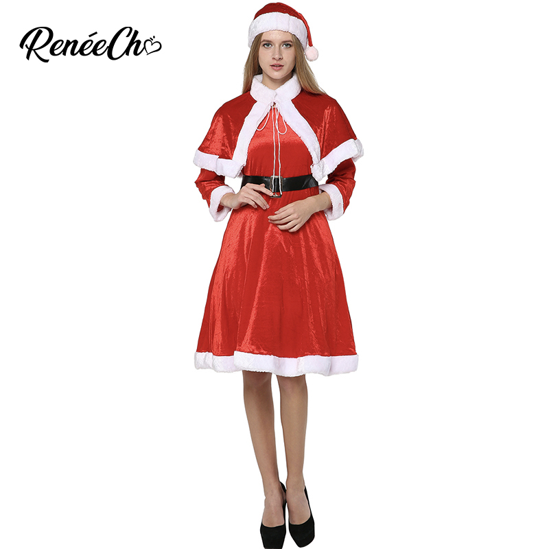 Christmas Costume Santa Clause For Adult Women Santa Claus Sweetie Costume Lady Red Thick Christmas Dress For New Year Party