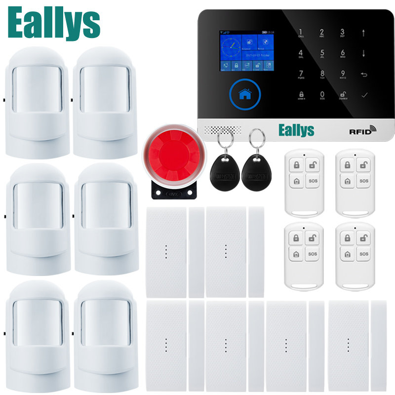 Wireless door sensor Home Security system alarm TFT Display Wired Siren Kit SIM SMS WIFI GSM burglar Alarm APP Remote Control yobangsecurity gsm wifi burglar alarm system security home android ios app control wired siren pir door alarm sensor