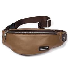 цена на LXFZQ waist bag leather marsupio uomo a case for phone Real cowhide bum bag fanny pack men purse-bag handbag men's leather belt