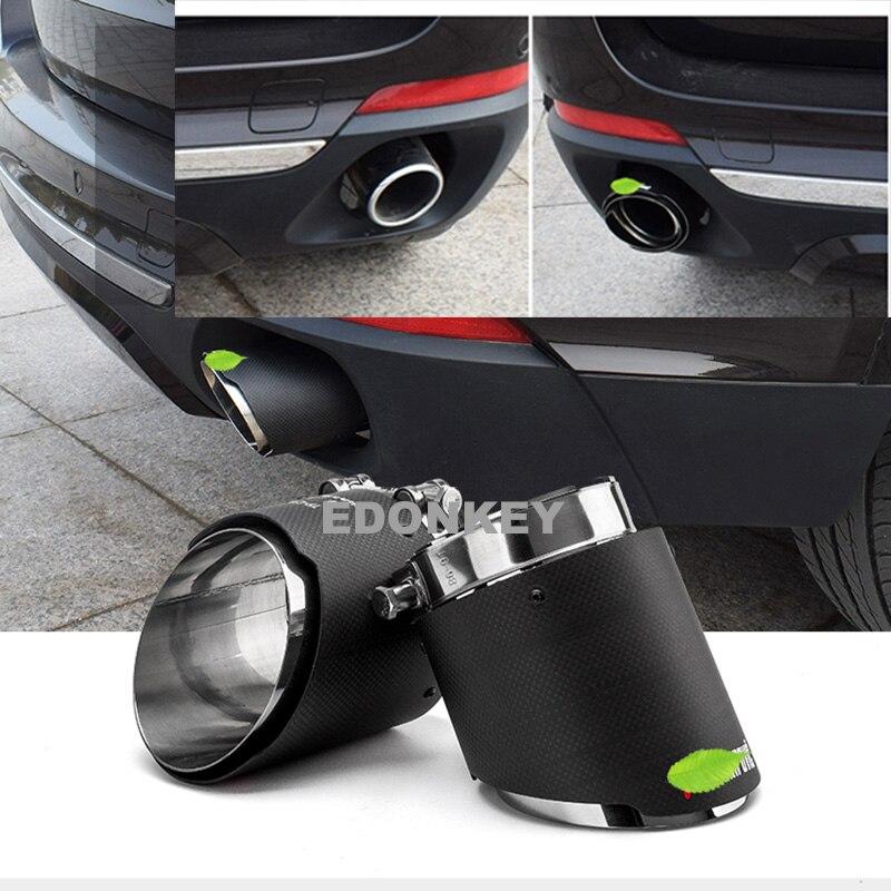 2 pièces Carbone fibre Akrapovic D'échappement De Voiture Conseils Silencieux Tuyau Couvre Pour BMW X5 E53 E70 X6 E71 F16 X1 f48