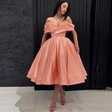 Vestido De Festa Coral Formal Dresses Midi Robe De Soiree 3D Appliques Evening  Gowns A Line Pleated Prom Gown 3b0f333f7706