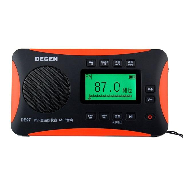 Venda quente! DEGEN DE-27 Rádio FM MW Stereo SW DSP Receptor World Band Radio MP3 Player Portátil de Rádio Digital Atacado Y4218A