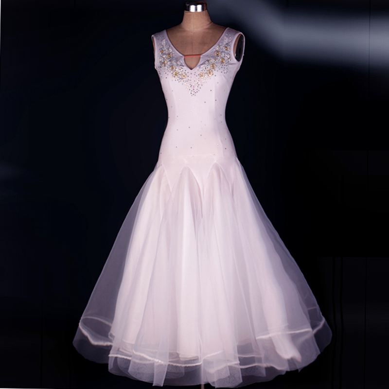 Ballroom Dance Costume Sexy V-neck Senior Sleeveless Diamond Ballroom Dance Dress for Women Ballroom Dance Competition Dresses
