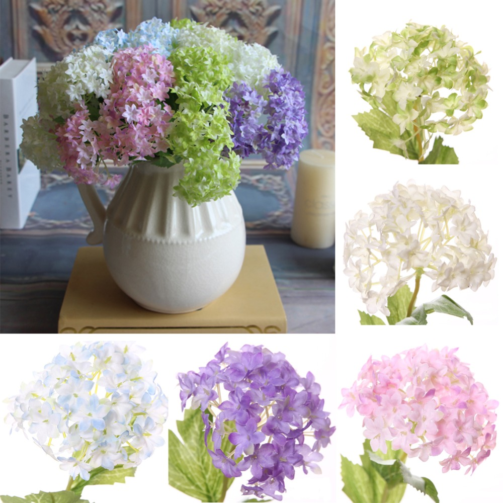 Fake flowers for crafts - Artificial Fake Plastic Silk Flowers Craft Hydrangea For Home Wedding Bridal Decor China Mainland