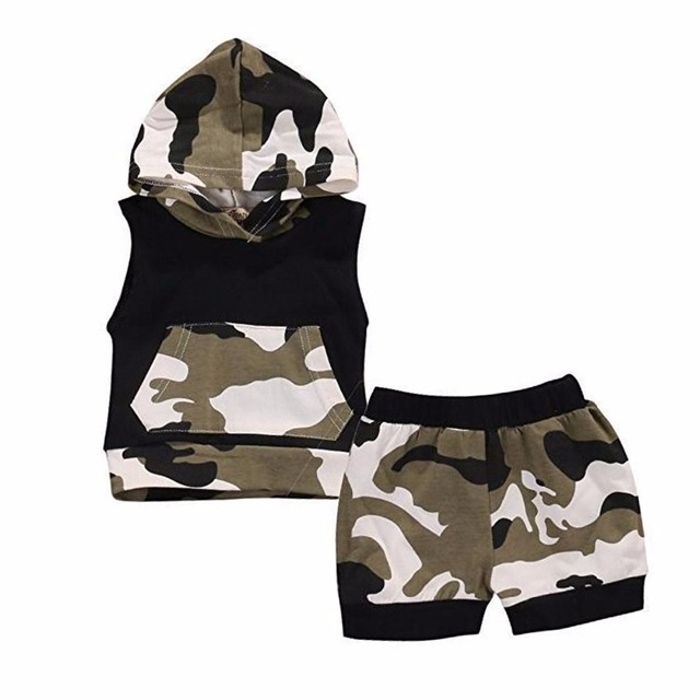 f5865c0ee Puseky Newborn Infant Baby Boy Girl Clothes Cool Design Camouflage Hooded  Vest Top T shirt Pants 2pcs Outfits Toddler Kids Cloth