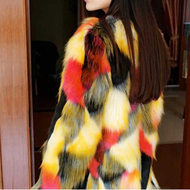 พลัสขนาด 2019 ผู้หญิงฤดูหนาวเสื้อขนสัตว์หนาขนยาว 2019 สีค่อยเป็นค่อยไปสีสัน Faux Fur Coat แจ็คเก็ตยาว Overcoat Parka v117