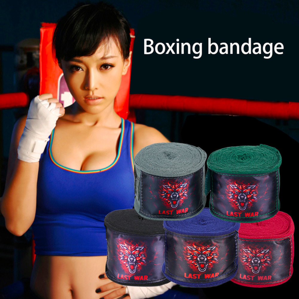 2PCS Sports Solid Color Boxing Gloves Strap Sanda Muay Thai Fighting Boxing Bandage Protecting Wrist Training Equipment 2pcs roll cotton 3m box sports strap boxing bandage sanda muay thai mma taekwondo hand gloves wraps adult male 1 pair set
