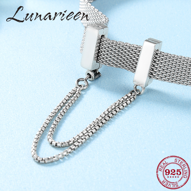 2019 Fashion 925 Sterling Silver Square Clips Safety Chain Beads Fit Original Reflection Clip Charm Bracelet Jewelry