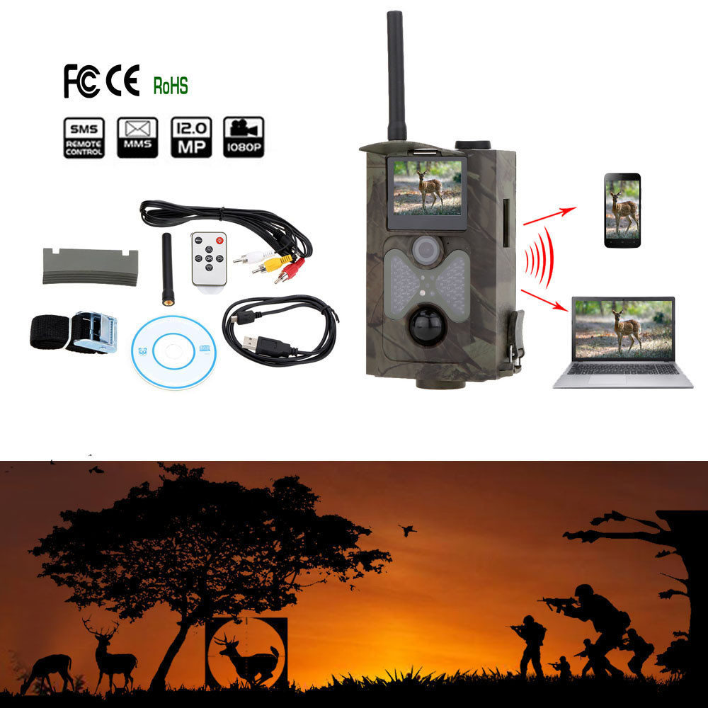 Hunting Camera Photo Traps MMS GPRS Wild Camera 12MP HC500M Digital Scouting Infrared Invisible LED Trail Camera for Hunting camouflage camera hc 300a scouting hunting camera 12mp 1080p hd digital wildlife trail camera infrared photo traps for hunting