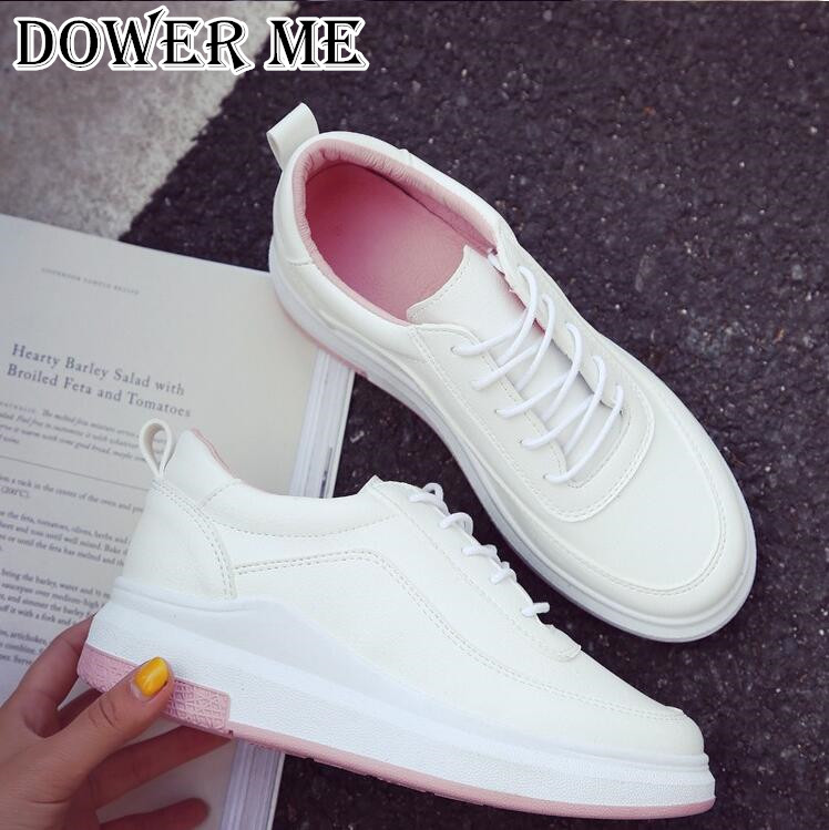 Hot Sale New Women's Genuine Leather Platform Shoes White Breathable Lady casual Shoes lace up girls loafers flats  mother shoes 2017 new chaussure homme mens shoes casual leather vulcanize hip hop white men platform summer hot sale breathable black shoes