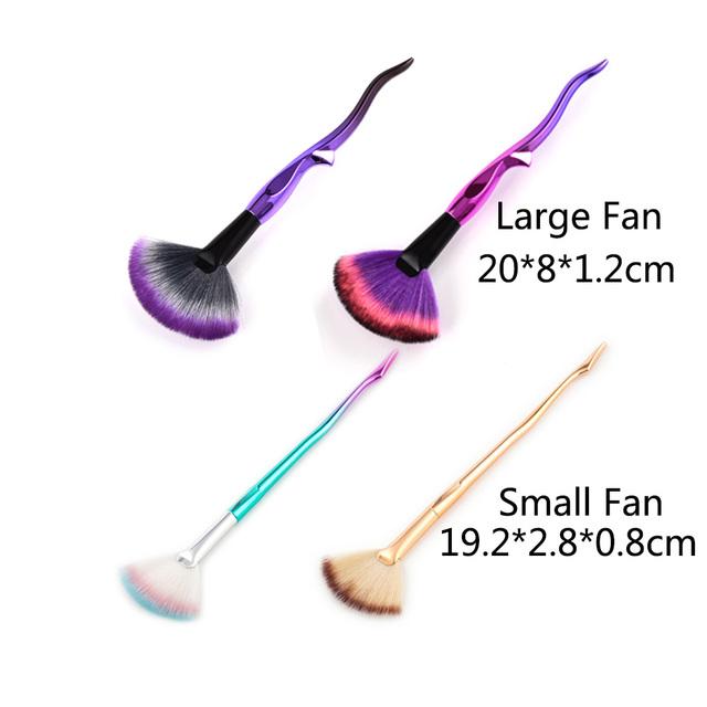 2018 NEW Makeup Brushes Sets 4Pcs Diamond Cosmetic Eye Shadow Eyeshadow Fan Make Up Brush Kits Tools Unique Shaped #261379
