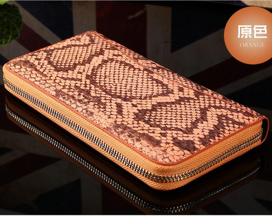 100%  Genuine/Real python skin leather long size women wallets and purse + Free shipping real 100
