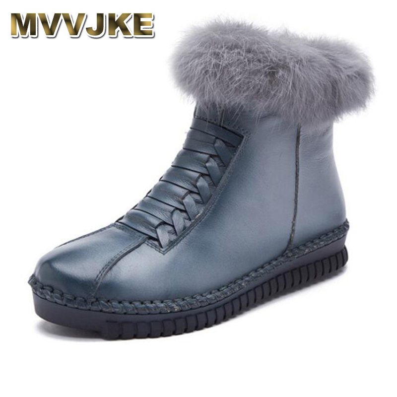MVVJKE Real hair Handmade Women Shoes Genuine Leather Women Boots Martins Spring&Autumn Vintage Ankle Boots Flat Bootie Botas 2018 high quality handmade thick heel women shoes genuine leather women boots martins winter vintage ankle boots botas mujer