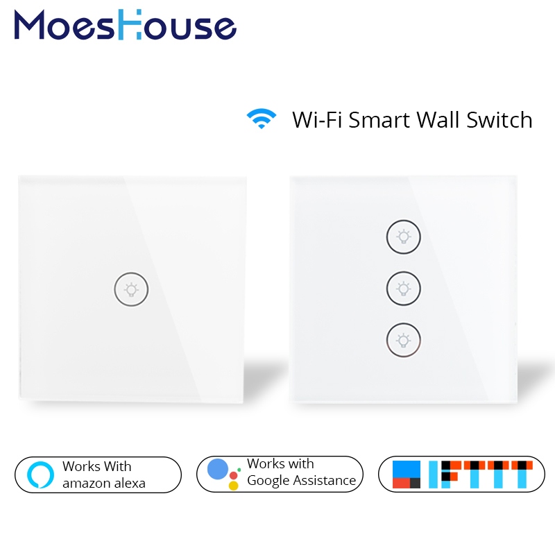 Wifi Smart Wall Touch Switch Glass Panel EU Standard APP Remote Control Works with Amazon Alexa Google Home for Smart Home qiachip wifi smart home switch 3 gang waterproof touch panel app remote control amazon alexa google home for ios android ds25