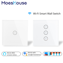 Wifi Smart Wall Touch Switch Glass Panel EU Standard APP Remote Control Works with Amazon Alexa Google Home for Smart Home wifi smart home switch ac 110v 220v 3 way wall light remote control app voice amazon alexa switch home screen eu standard ds35