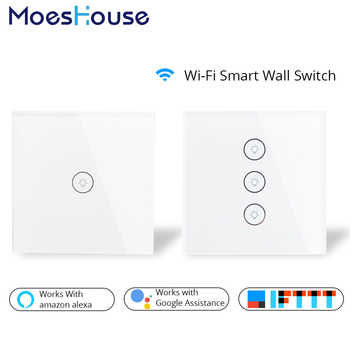 Wifi Smart Wall Touch Switch Glass Panel EU Standard APP Remote Control Works with Amazon Alexa Google Home for Smart Home - DISCOUNT ITEM  50% OFF All Category