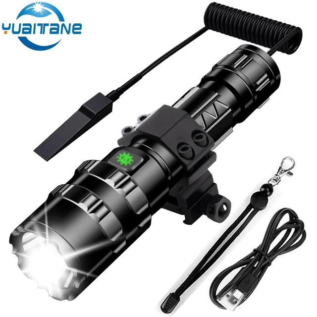 65000 Lumens LED Tactical Flashlight Ultra Bright USB Rechargeable Waterproof Scout light Torch Hunting light 5 Modes by 1*18650