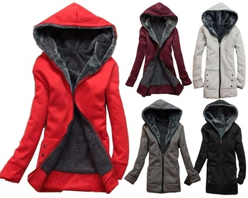 2016 New Exo Big Promotion Women Winter Clothing Hooded Coat Wool Zipper Overcoat Ladies Casual Hoodies Sweatshirts Jacket