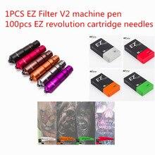 EZ Filter V2 Tattoo machine Pen and 100pcs EZ Revolution Cartridge Tattoo Needles tattoo kits for Tattooist Tattoo supplies