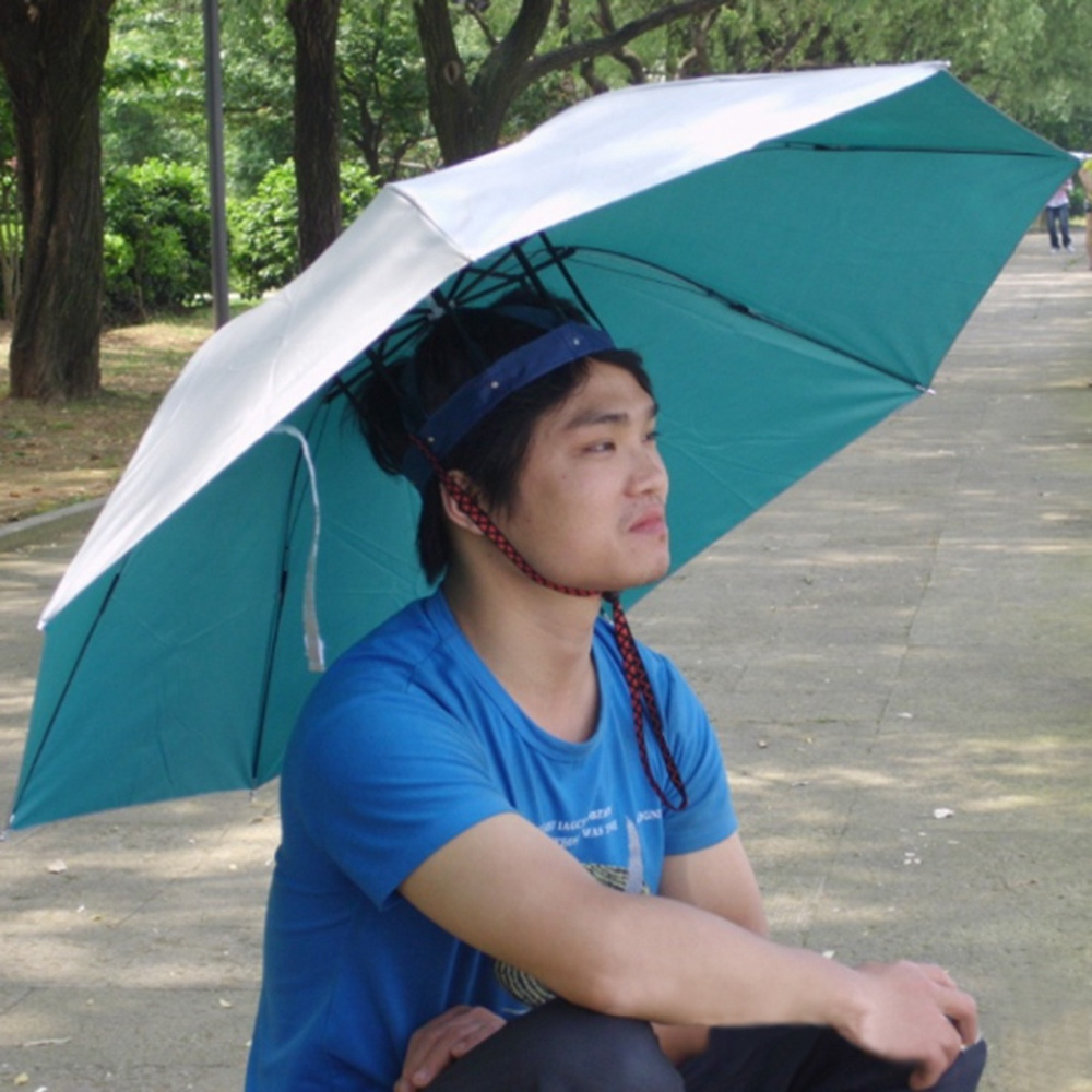foldable head umbrella hat sun rain fishing umbrella hat
