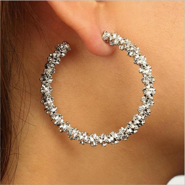 New Design Fashion Charm Austrian crystal hoop earrings Geometric Round Shiny rhinestone big large earrings jewelry women
