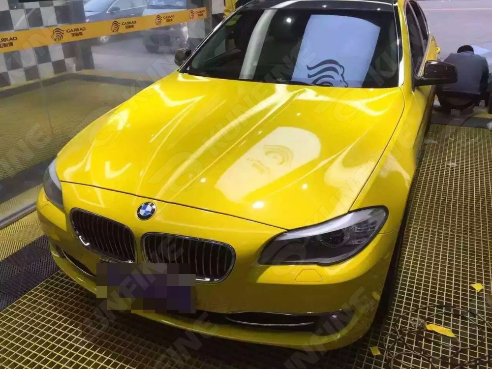 Car Styling Wrap Glossy Yellow Car Vinyl film Body Sticker Car Wrap With Air Free Bubble For Vehiche Motorcycle 1.52*20M/Roll junction produce jp luxury reflective windshield sticker ho car auto motorcycle vinyl diy decal exterior window body car styling