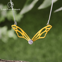 Lotus Fun Moment Real 925 Sterling Silver Handmade Designer Fashion Jewelry Hollow Butterfly Wings Pendant Necklace for Women