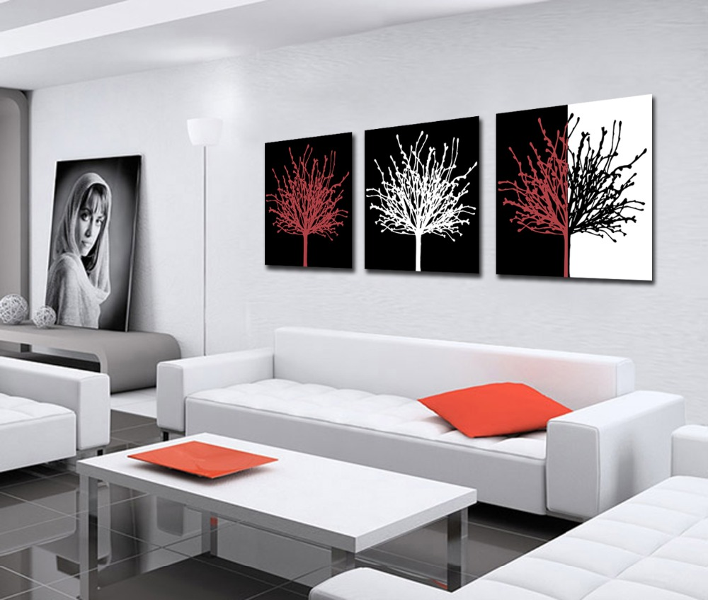 Best Art 3 Panel Modern Printed Black white red treesPicture On ...